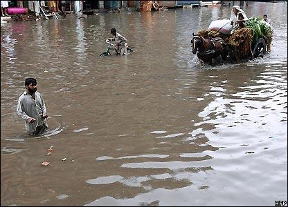 Flooded street in Lahore, Pakistan