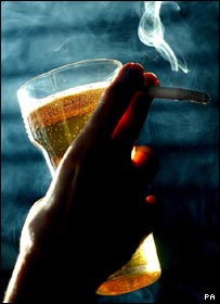 Pint and cigarette