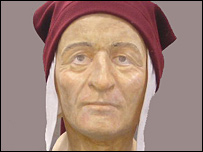 Recreation of Dante's face