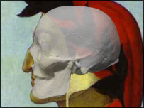 Dante's skull superimposed on a Botticelli portrait