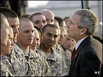 President Bush meets troops at Fort Benning