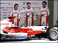 Jarno Trulli, Ralf Schumacher and test driver Franck Montangy with the new Toyota 2007 Formula One car