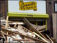 Flood-damaged shop
