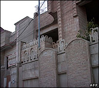 Exterior of the building raided by the US forces in Irbil