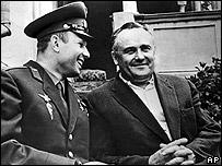 Yuri Gagarin (in uniform) with Sergei Korolyov in September 1961