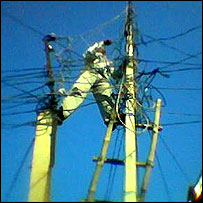 Man sorting out telephone wires