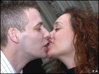 Andrew Adams and girlfriend Clare Brayson outside The Court of Appeal
