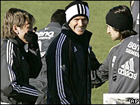 David Beckham with his Real Madrid team-mates