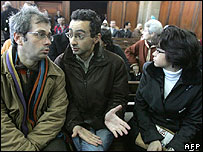 Driss Ksikes (L) and Sanaa al-Aji (R) sit with the publisher of the Telquel group, Ahmed Reda Benchemssi (C), which owns Nichane