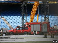 Fire engines in the Vicente Calderon Stadium