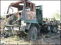 Burnt out truck on the Kenya-Somalia border