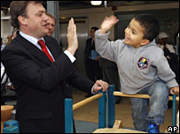 Ed Balls with Karem Gadd aged four