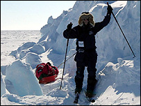 A team member pulling a sledge (Image: Team N2i)