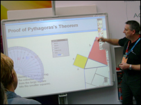 Teacher demonstrates interactive white board