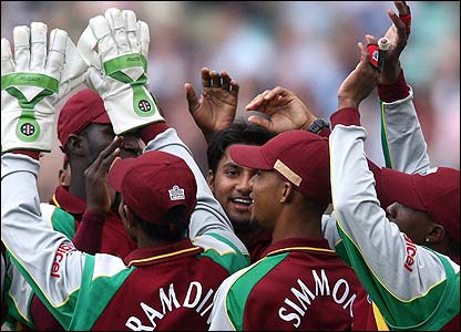 West Indies players congratulate Rampaul