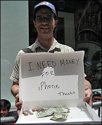 Marc Falato, collecting small change towards his iPhone