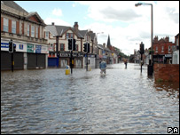 A flooded street in Bentley, near Doncaster