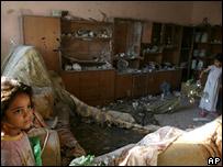Children in house damaged in raid, 30 June 2007
