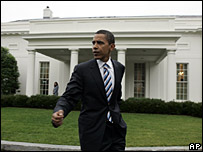 Barack Obama in front of the White House, Jan 2007