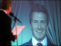 David Beckham was interviewed for the American public via a live satellite link