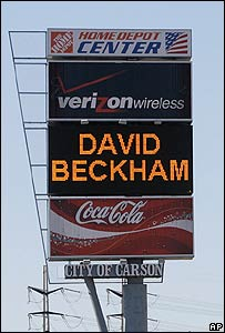 Sign advertising arrival of David Beckham