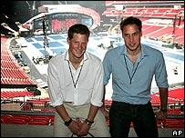 Princes William and Harry at Wembley Stadium