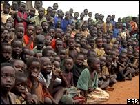 Displaced Ugandan children at a refugee camp in northern Uganda, May 2007