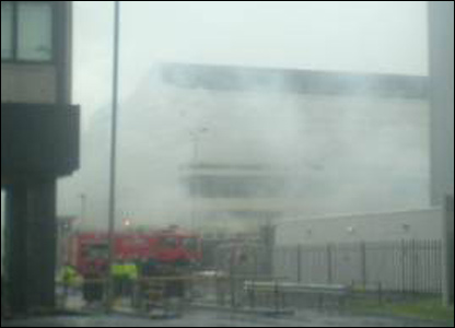 A fire engine at the scene