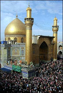 Shia faithful at the Imam Ali mosque in Najaf, Iraq, this month