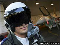 Israeli fighter pilot with his F-16C Falcon jet fighter