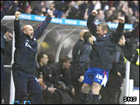 Rangers' management deal celebrate a goal against Dundee United