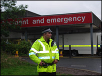 Police officer outside the Royal Alexandra Hospital