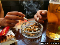 Smokers in a pub