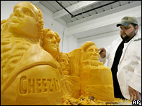 Troy Landwehr with his giant cheese Mount Rushmore
