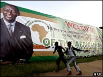 Banner welcoming delegates to AU summit