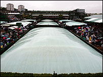 The covers were on for most of the day at Wimbledon on Saturday