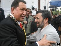 Venezuela's Hugo Chavez (left) greets Iran's Mahmoud Ahmadinejad at the Miraflores palace in Caracas