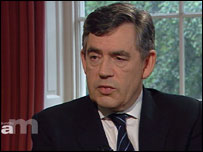 Gordon Brown being interviewed on Sunday AM