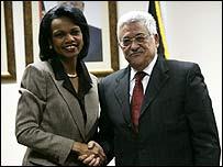 US Secretary of State Condoleezza Rice meets Palestinian President Mahmoud Abbas
