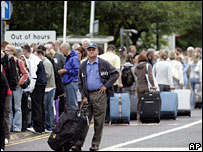 Passengers at Glasgow Airport