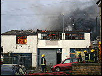 The fire in King John's Lane - image courtesy of Andrew Hewson