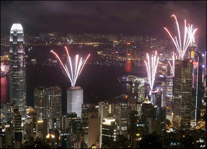 Fireworks in Hong Kong on 1 July