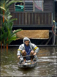 A villager in his boat in Johor, southern Malaysia