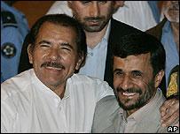Mahmoud Ahmadinejad y Daniel Ortega