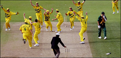 Australia's fielders celebrate while Donald is disconsolate