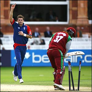 James Anderson bowls Runako Morton