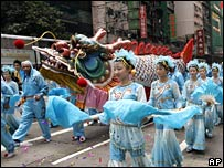 Dragon dancers in the streets of Hong Kong
