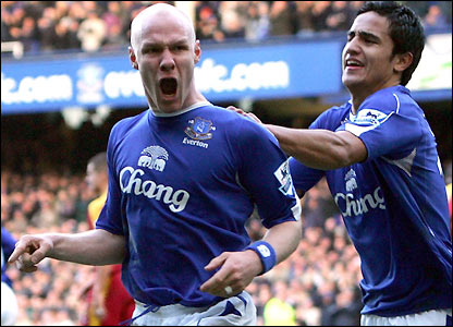 Andrew Johnson and Tim Cahill celebrate