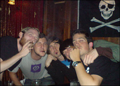 Ben Dowrick and friends smoking in Brighton.