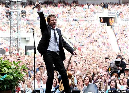 Duran Duran frontman Simon Le Bon, at the Concert for Diana